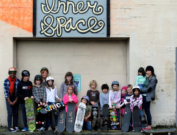 Kids with skateboards group