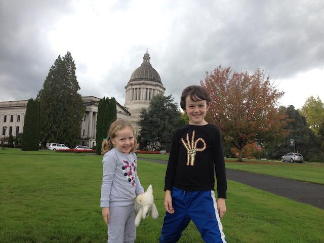Kids outside Wa State Capitol