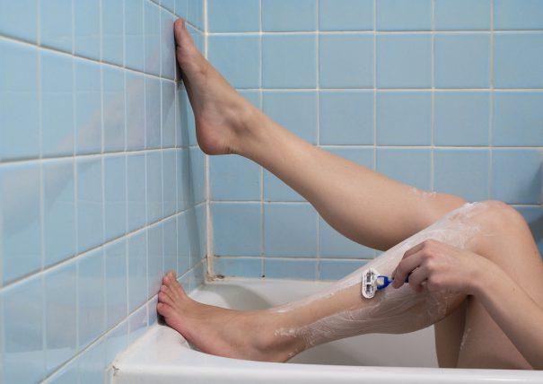 shaving legs bathtub