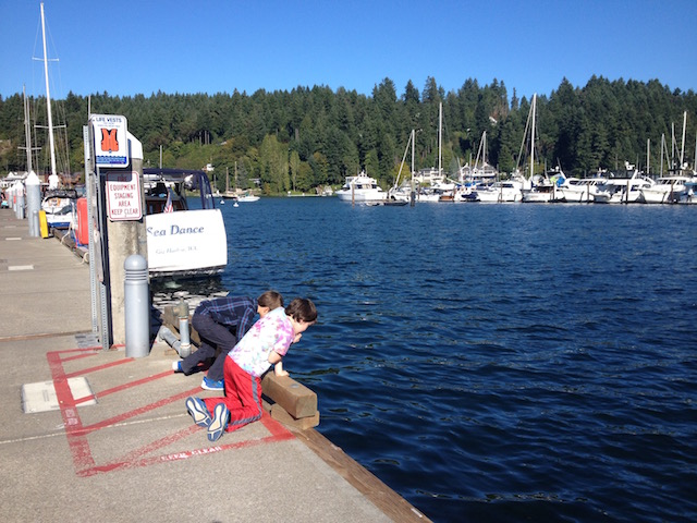 Boys checking out pier Gig Harbor