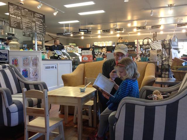 Dad and daughter at General Store gig harbor